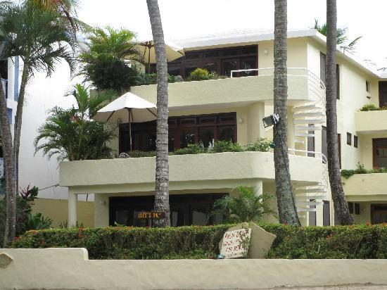 Cabarete Palm Beach Condos : 104 is on the 1st floor.  On the right is the other resort and bar