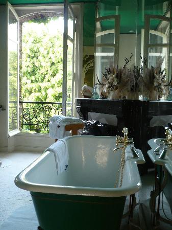 Chambre d'hotes L'Ambroise: bathroom overlooking garden