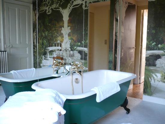 Chambre d'hotes L'Ambroise: trompe l'oeil behaind bath!