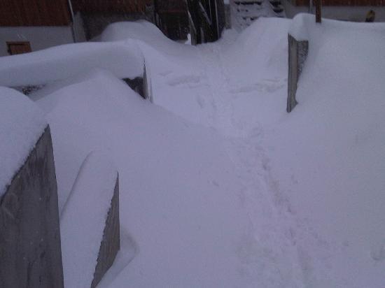 Résidence Le Hameau des Aiguilles : les escaliers enneigés...