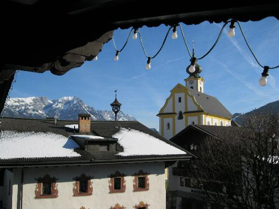 Postwirt: View from our Balcony, lovely!  Bring earplugs, the church bells ring 112 every morning at 7am!!