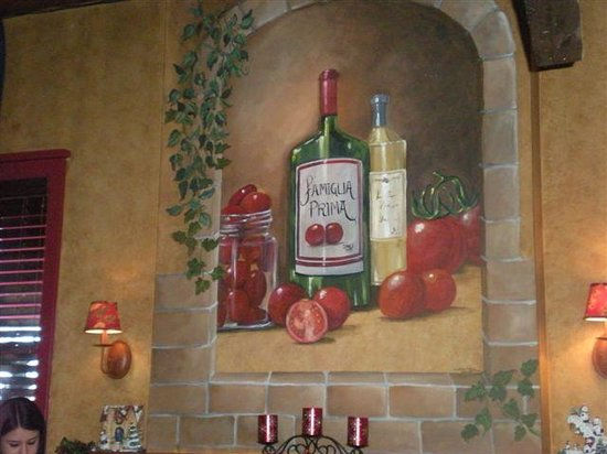 """Pomodorino Restaurant of Huntington: The Mural on the fireplace translates into """"Family First"""""""