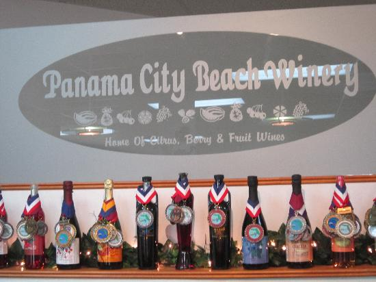 Panama City Beach Winery: award winning wine display