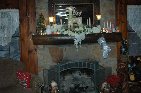 Laurel Springs Lodge B&B: The fireplace in the main living room