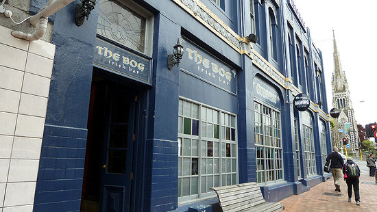 The Bog Irish Bar: Distinct blue color landmark