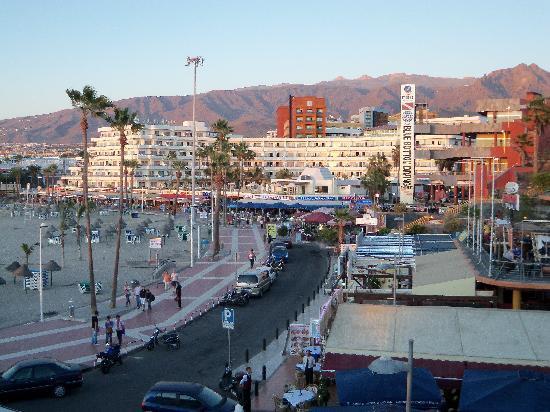 Be Live Experience La Nina: Hotel (rust coloured block) across Torviscas