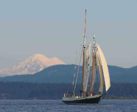 Schooners North : a nice reach by Shaw Is and Lopez Is w/ Mt. Baker