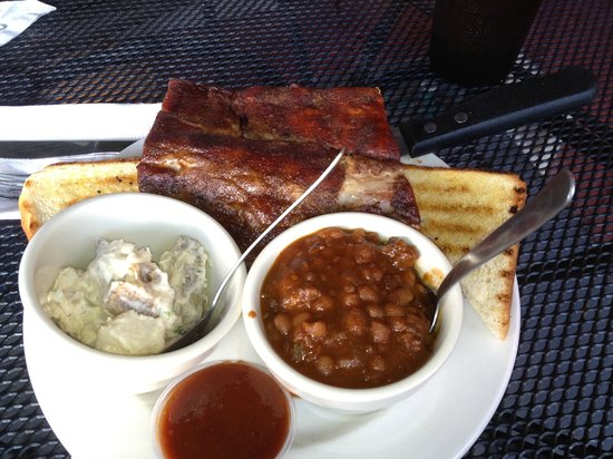 The Pit: Ribs, potato salad, & baked beans