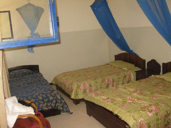 Jinka, Ethiopia: Triple beds with mosquito nets