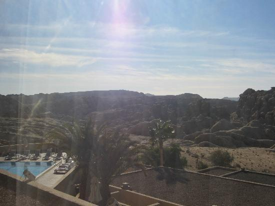 Crowne Plaza Resort Petra: View of pool and desert hills from the terrace of my room