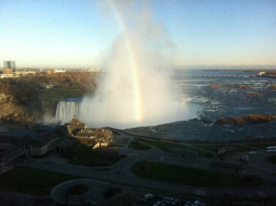 Niagara Falls Marriott Fallsview Hotel & Spa: This was the view from our 14th floor room at the Fallsview Marriott at Niagara Falls, Ontario.