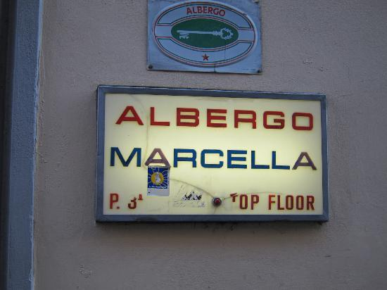 Albergo Marcella: look for this sign from the street, it's easy to miss!