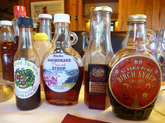 Alaskan Frontier Gardens Bed and Breakfast: a dizzying slection of syrups!