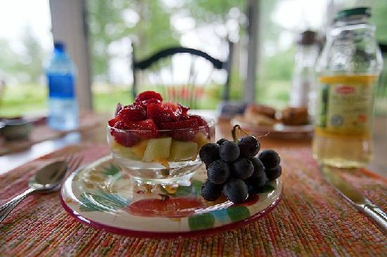 The Gathering Place: AMAZING fresh fruit for breakfast, some of it grown right on the island!