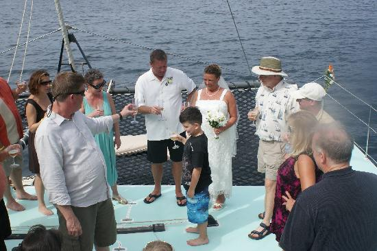 Humu Humu Day Charters: There is plenty of room on the deck for a champagne toast!