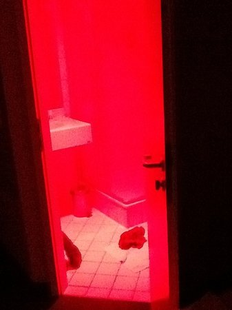 Mercure Hotel Frankfurt City Messe  red light in bathroom  assume what you  willView from hotel room by night  Atlantic  Frankfurt   Picture of  . Red Light In Bathroom Hotel. Home Design Ideas
