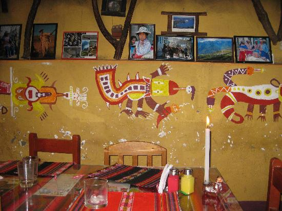 Pachamama: Section of the dining hall's wall.