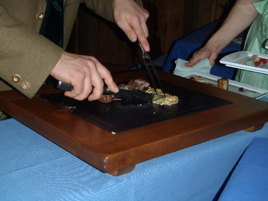 Hospiz Alm : Carving it up, table and old-school!