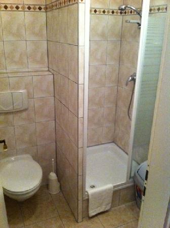 Hotel Adam: Badeværelset - ganske fint, rent. Dog ikke så meget varmt vand om morgenen