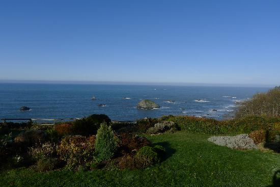 Turtle Rocks Inn: Back garden and ocean view from the common room balcony