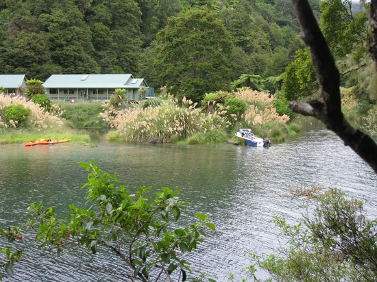 Te Urewera Treks: View of hut we were going to stay overnight at from track