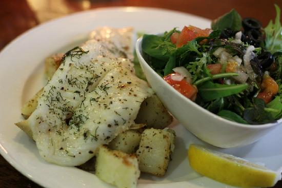 The Mussel Pot: Grilled blue cod filet with roasted potatoes and peas puree for the non-mussel eater :)