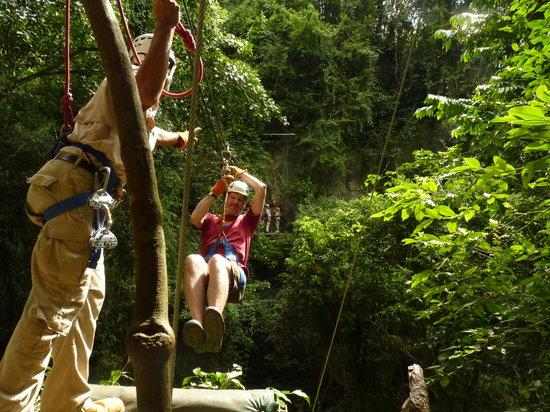 Chukka Caribbean Adventures in Belize: Having a zip-line high.