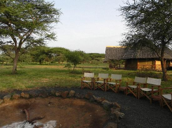 Severin Safari Camp: View of the bush and camp fire
