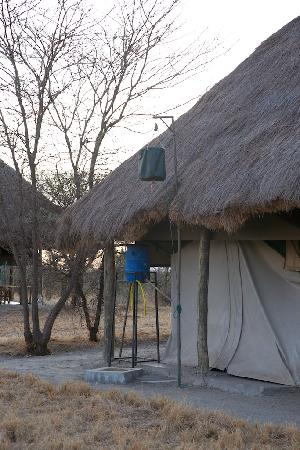 Whistling Thorn Tented Camp: the typical tented camp plumbing: warm shower from the black bag. just what you need.