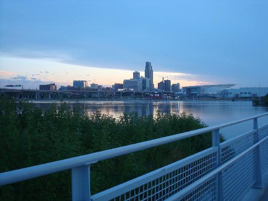 Bob Kerrey Pedestrian Bridge: View of downtown Omaha from the Iowa side of the bridge