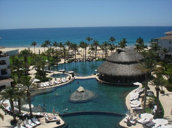 Cabo Azul Resort: View of the three pools and ocean from the Wedding Chapel.
