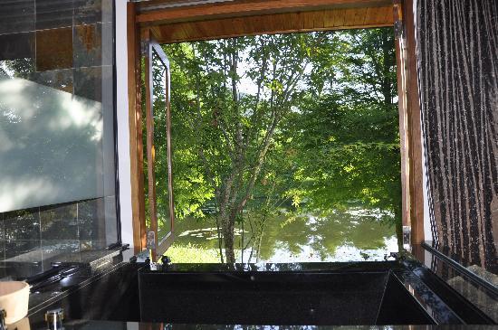 Ardennes Villa: 由浴池欣賞窗外的風景
