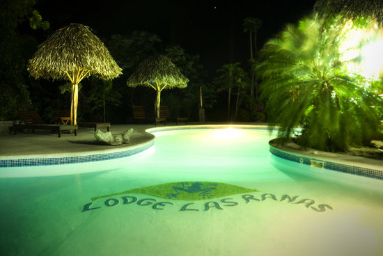 Lodge Las Ranas: Pool at night