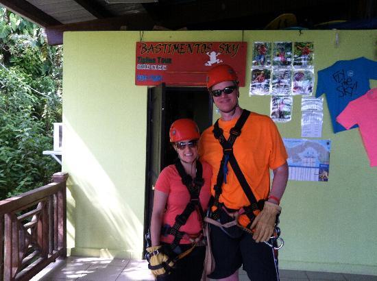 Bastimentos Sky Zipline Canopy Tour: Ready for the zip line!