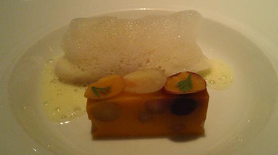Baume: Turbot with Spirit of Vischy Foam and heirloom carrot terrine