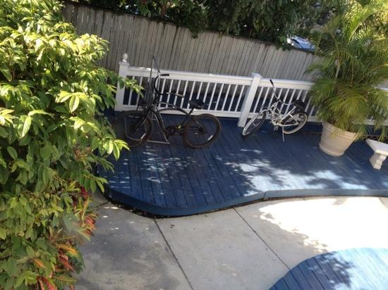 Azul Key West: bike racks at azul with locked gate, each guest has key