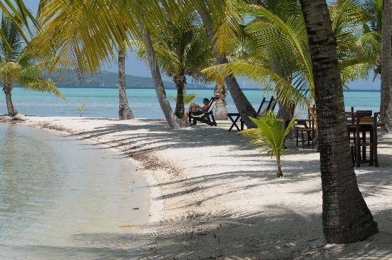 Tahaa, French Polynesia: A stretch of beach by the restaurant