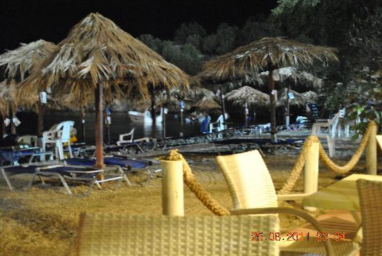 Belle Helene: Beach bar at night