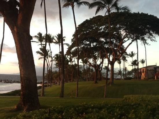 Wailea Elua Village: the West Maui Mountains reflecting the sunset