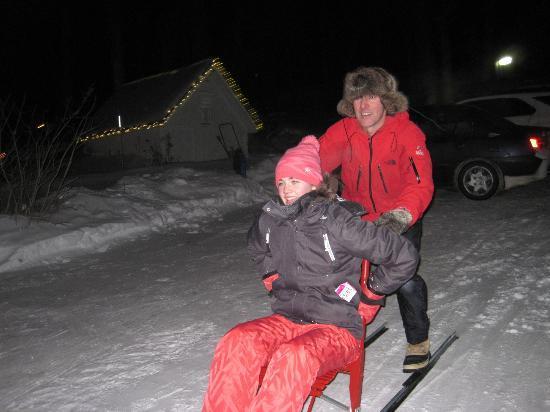 Les Suites des Présidents: My daughter and Jocelyn snowscooting.