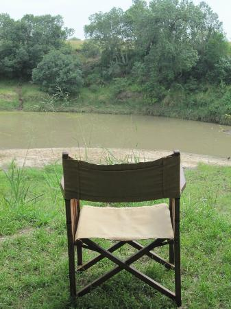 Naibor Camp: After lunch coffee time overlooking hippo pool