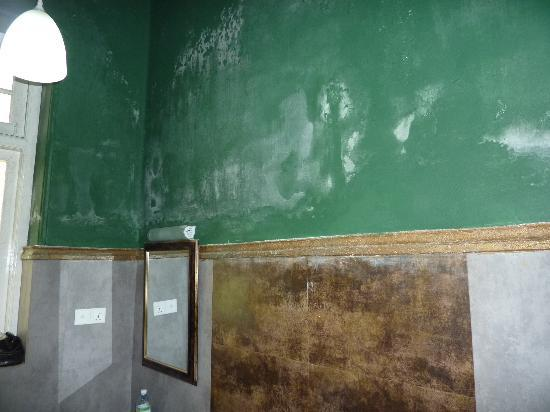 The Mansion: Wall in bathroom (damp- or just not painted well?
