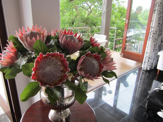Leaves Lodge & Spa: Fresh Proteas in the dining area