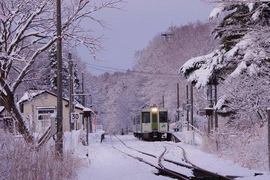 Hokuto, Giappone: 冬の小海線.甲斐大泉駅