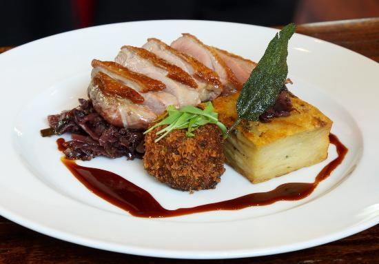 Pan Roasted Duck Breast With Dauphinoise Potatoes Red Cabbage And