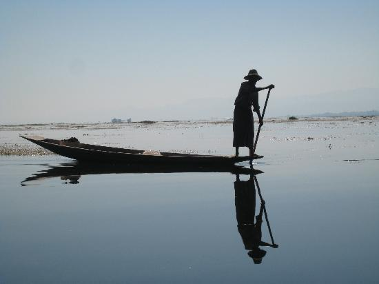 Nyaung Shwe, Burma: A local fisherman on Inle Lake