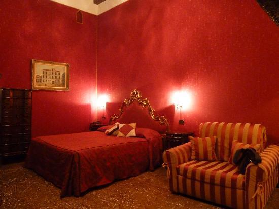 Our bed in the hotel Al Ponte Mocenigo