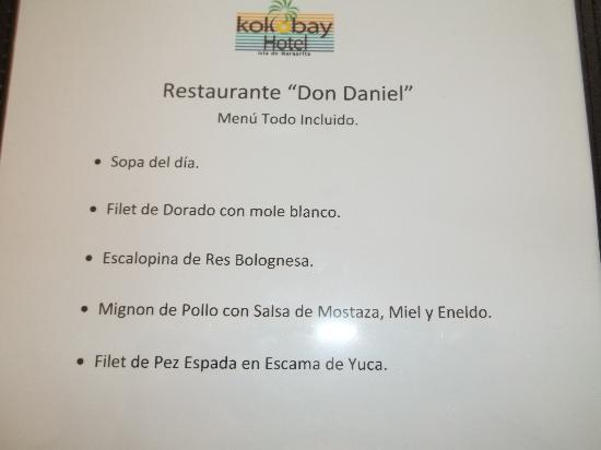 Hotel Kokobay: menu gratuit