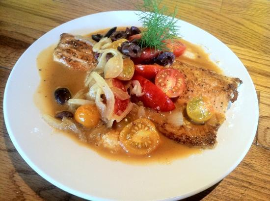 The Morning Glory Cafe: local trout with tomatoes fennel and grits!