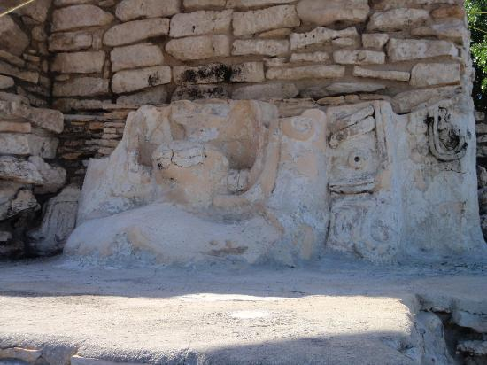 Yucatan, Mexico: some images of the sun god carved into stucco